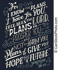 bíblia, planos, citação, saber, ter, tu
