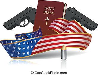 bíblia, santissimo, culture!, -, americano, armas