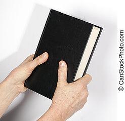 bíblia, santissimo, mão