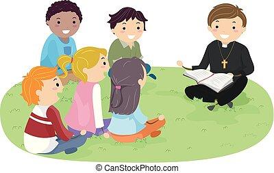 bíblia, stickman, estudo, padre, ao ar livre, adolescentes