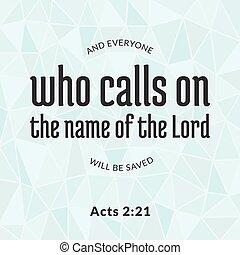 bíblia, verso, de, actos, quem, chamadas, ligado, a, nome,...
