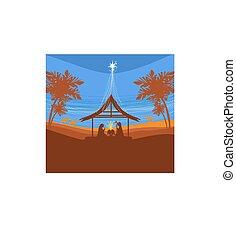 bíblico, -, escena, jesús, bethlehem., nacimiento