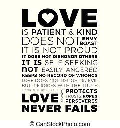 bíblico, frase, de, 1, corinthians, 13:8, amor, nunca, falla