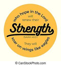 bíblico, frase, de, isaiah, 40:31, quién, esperanza, en, el...