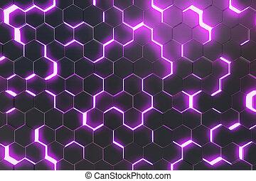 bíbor, elvont, felszín, vakolás, hexagons., háttér, futuristic, 3