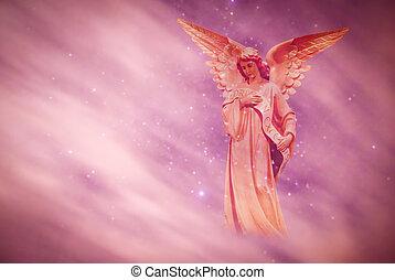 bíbor, felett, ég, háttér, angyal
