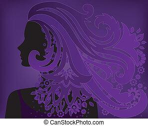 bíbor, haj, leány, virág