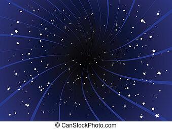 bíbor, kitörés, és, stars.