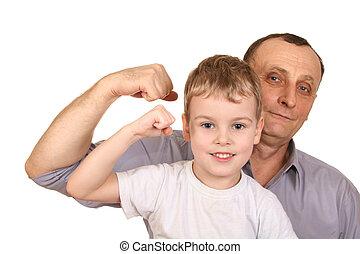 bíceps, avô, criança
