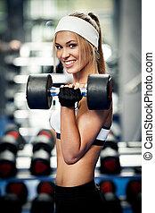 bíceps, bombeo, arriba