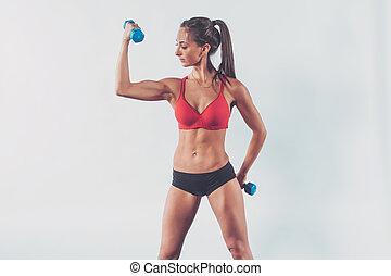 bíceps, concepto, estilo de vida, atlético, entrenamiento, bombeo, dieta, arriba, deporte, mujer, condición física, elevación, entrenamiento, músculos, dumbbell, brazo, ejercicio
