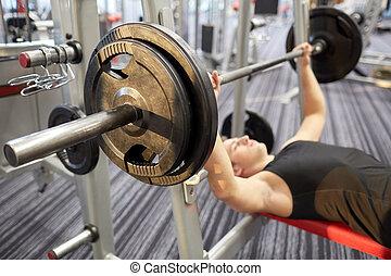 bíceps, gimnasio, arriba, barra con pesas, doblar, cierre, ...