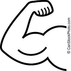 bíceps, linha, ícone, vetorial