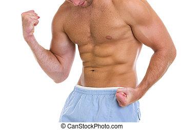 bíceps, músculos, actuación, deportes, primer plano, torso, ...