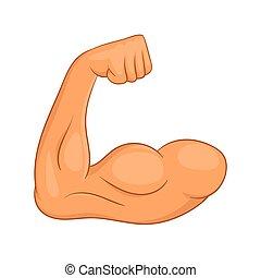 bíceps, manos, icono, caricatura, estilo