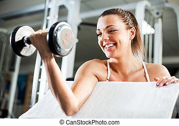 bíceps, mujer, joven, ejercicio