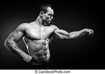 bíceps, seu, jovem, bodybuilder, músculos, demonstrar, forte, bonito