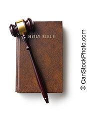 bíró, árverezői kalapács, biblia, jámbor