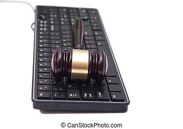bíró, árverezői kalapács, képben látható, fekete, computer billentyűzet