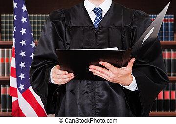 bíró, közelkép, hím, irattartó, birtok