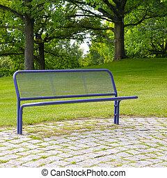 bírói szék, alatt, egy, nyár, liget