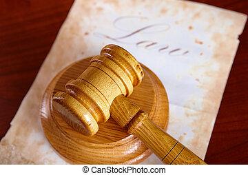 bírók, árverezői kalapács, noha, öreg, dolgozat