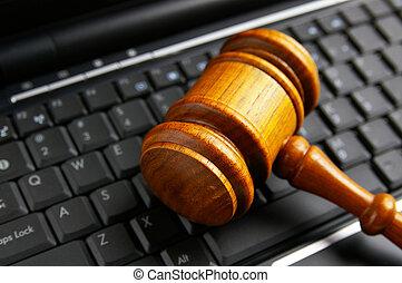 bírók, bíróság, árverezői kalapács, closeup, képben látható, egy, laptop