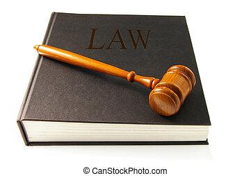 bírók, bíróság, árverezői kalapács, képben látható, egy, lawbook