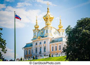 bíróság, templom, közül, a, nagy, palota, peterhof