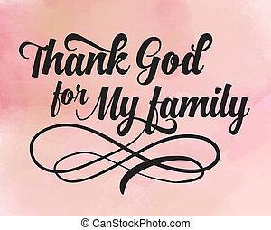 bóg, mój, dziękować, rodzina
