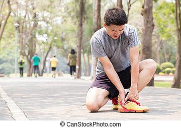 ból, znowu, lekkoatletyka, jogging, kostka, injury., ...
