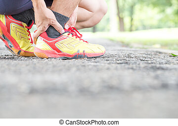 ból, znowu, lekkoatletyka, jogging, kostka, injury.