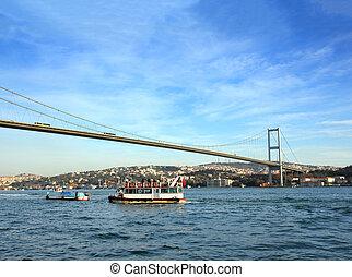 bósforo, encima, estrecho, estambul, puente