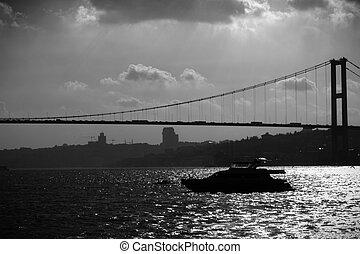 bósforo, puente, silueta