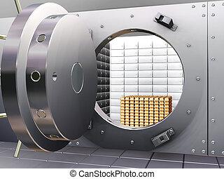 bóveda de seguridad del banco