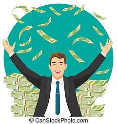 bônus, dinheiro, ilustração, vetorial, paleto, adquire, caro, homem