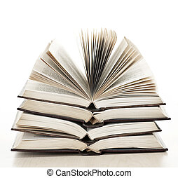 böcker, öppna, stack