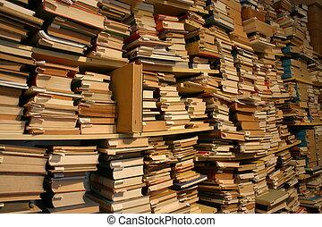 böcker, böcker, books..., tusenden, av, böcker, in, a,...