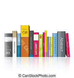 böcker, färgrik, rad