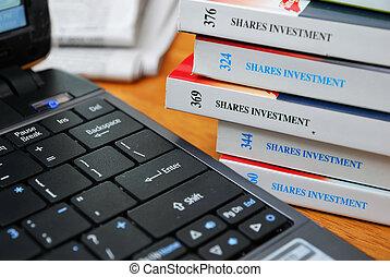böcker, finansiell investering, aktier