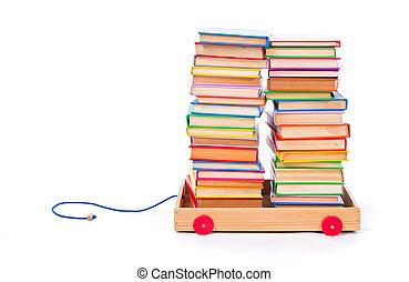 böcker, in, leksak kärra