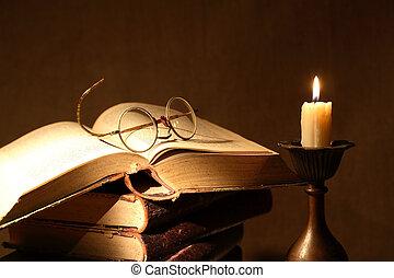böcker, och, stearinljus