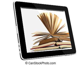 böcker, på, ipad, 3, begrepp