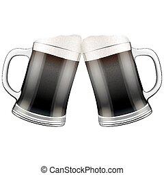 bögrék, két, ábra, sötét, sör, vektor, clink.
