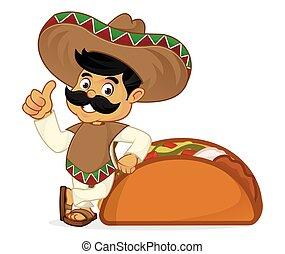 böjelse, mexikanare, tecknad film, man, taco