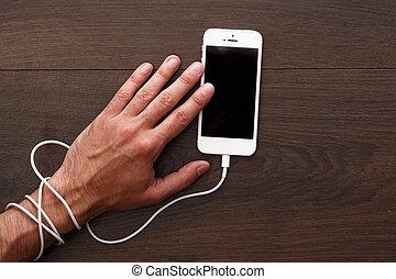 böjelse, till, smartphone, och, social, knyter kontakt