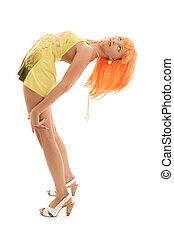 böjning, flicka, med, orange hår