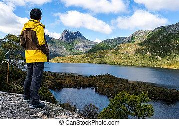 bölcső, hegy, np, tasmania, utazás, ausztrália