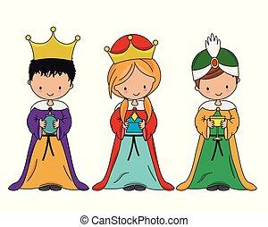bölcs, három, öltözött, gyerekek, férfiak