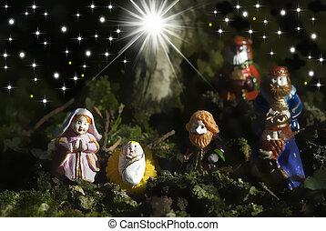 bölcs, jámbor, család, férfiak, három, kártya, karácsony